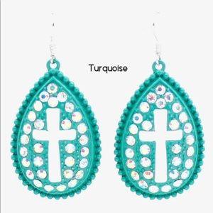 Turquoise Teardrop Cross Earrings